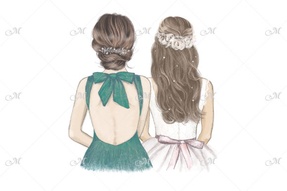 Bride & Bridesmaid in Emerald Green Graphic Illustrations By MaddyZ