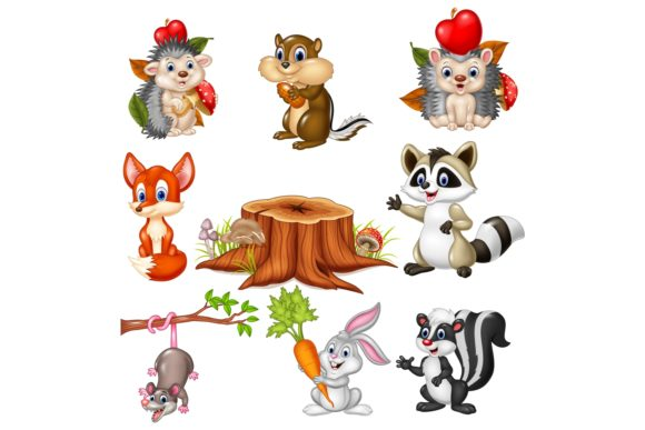 Cartoon Wild Animals Vector Set Graphic Illustrations By tigatelusiji