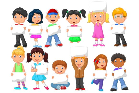 Children Holding Blank Paper Vector Set Graphic Illustrations By tigatelusiji