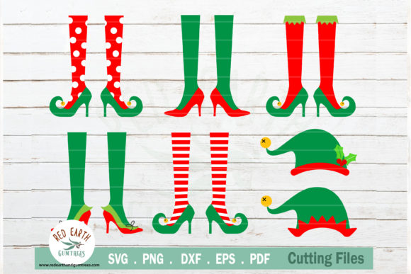 Christmas Elf Shoes and Hat Bundle Graphic Crafts By redearth and gumtrees