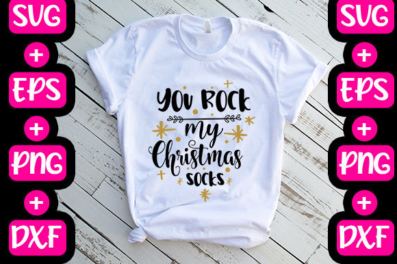 Print on Demand: Christmas: You Rock My Christmas Socks Graphic Print Templates By svg.in.design