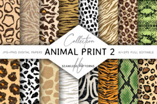 Collection of Animal Print Seamless 2 Graphic Patterns By digitalEye