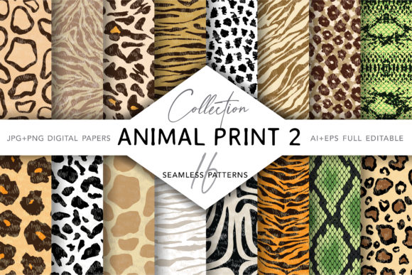Collection of Animal Print Seamless 2 Gráfico Moldes Por digitalEye