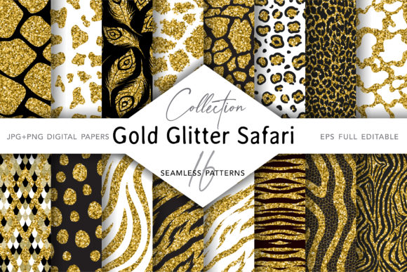 Collection of Glitter Animal Prints Graphic