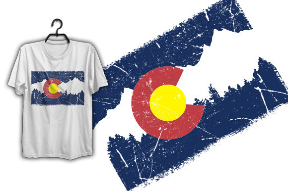Print on Demand: Colorado Flag T-shirt Design Graphic Print Templates By Graphicflow