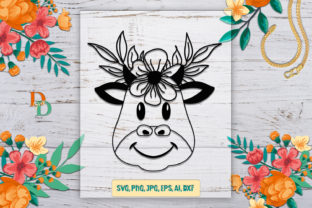 Cow With Flower Crown Graphic By Denysdigitalshop Creative Fabrica