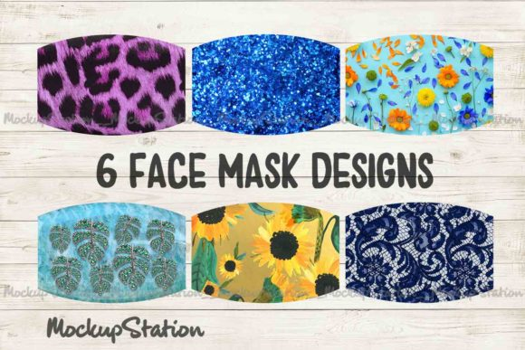 Print on Demand: Face Mask Sublimation Bundle, Floral   Graphic Patterns By Mockup Station