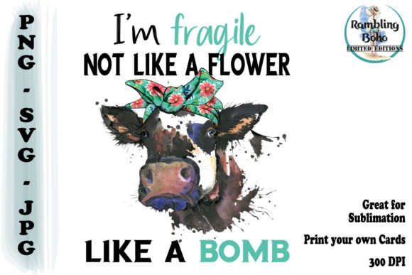 Fragile Like a Bomb Quote Grafik Illustrationen von RamblingBoho