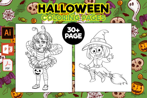Print on Demand: Halloween Coloring Pages Gráfico Coloring Pages & Books Kids Por MK DESIGNS