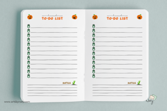 Print on Demand: Halloween to-do List Printable Notebook Graphic KDP Interiors By artsbynaty - Image 3