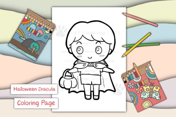 Halloween Dracula Boy Graphic Coloring Pages & Books Kids By TakeNoteDesign - Image 1