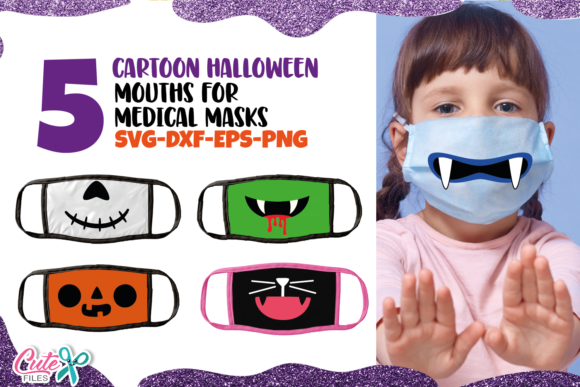 Halloween Mouths Face Mask   Graphic Illustrations By Cute files