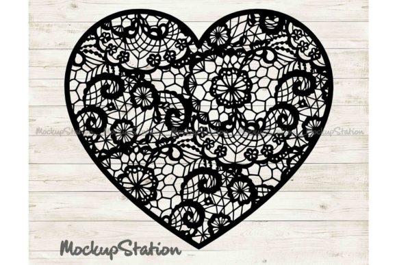 Print on Demand: Heart Mandala Floral Lace Decor   Graphic Crafts By Mockup Station