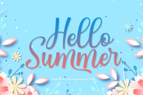 Print on Demand: Hello Summer Manuscrita Fuente Por rotterlabstudio