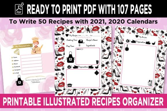 Print on Demand: KDP 50 Recipes Organizer Notebook Vol 2 Graphic KDP Interiors By Queen Dreams Store