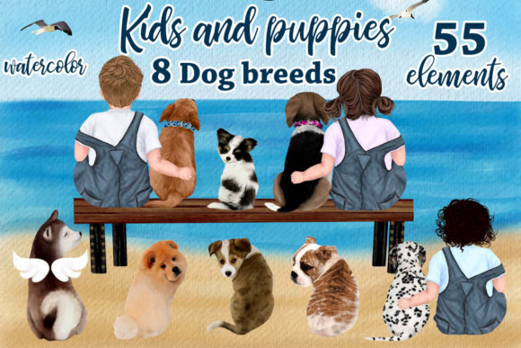 Kids and Puppies Dog Breeds for Mug Graphic