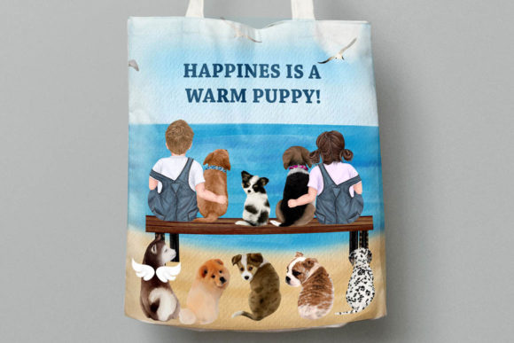 Kids and Puppies Dog Breeds for Mug Graphic Graphic