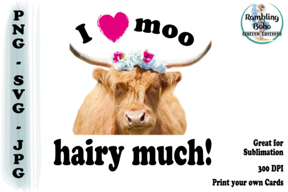 Love Moo Hairy Much Graphic Illustrations By RamblingBoho