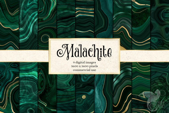 Print on Demand: Malachite Textures with Gold Strata Gráfico Texturas Por Digital Curio