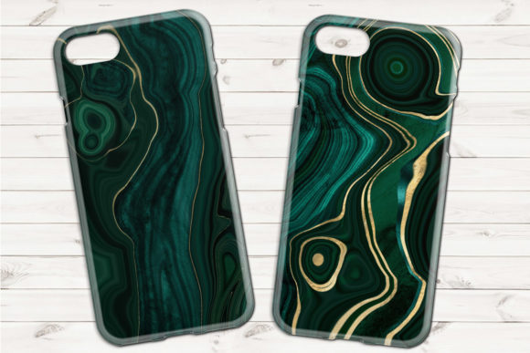 Print on Demand: Malachite Textures with Gold Strata Graphic Textures By Digital Curio - Image 2
