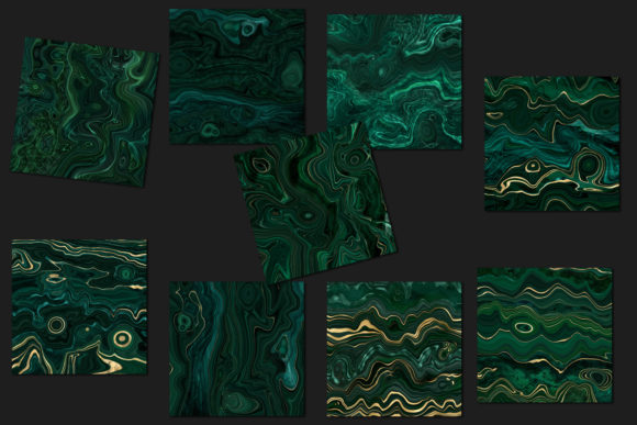 Print on Demand: Malachite Textures with Gold Strata Graphic Textures By Digital Curio - Image 3