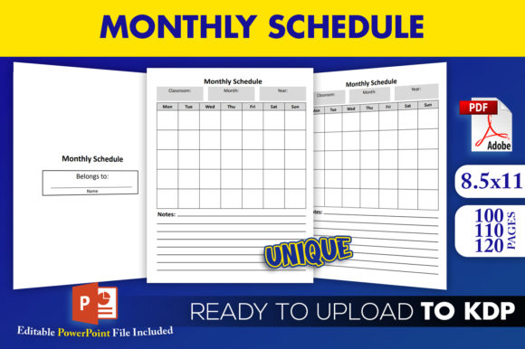 Print on Demand: Monthly Schedule | KDP Interior Editable Graphic KDP Interiors By Beast Designer