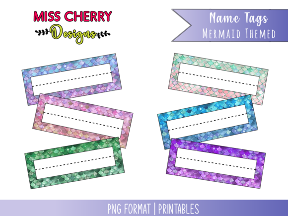 Name Tags Mermaid Themed Graphic Illustrations By Miss Cherry Designs