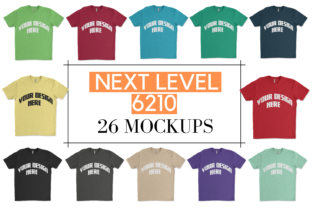 Print on Demand: Next Level 6210 T-Shirt MockUp Bundle  Graphic Product Mockups By Mockup Venue