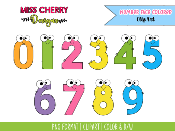 Number Face Colored ClipArt Graphic Illustrations By Miss Cherry Designs