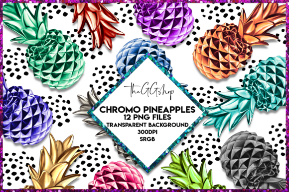 Print on Demand: Pineapple Clipart Set Graphic Illustrations By TheGGShop