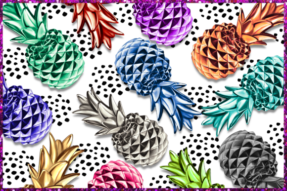Print on Demand: Pineapple Clipart Set Graphic Illustrations By TheGGShop - Image 2