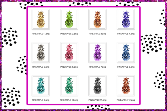 Print on Demand: Pineapple Clipart Set Graphic Illustrations By TheGGShop - Image 3