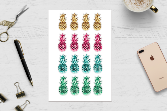 Print on Demand: Pineapple Clipart Set Graphic Illustrations By TheGGShop - Image 7