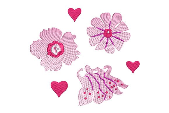 Print on Demand: Pink Flowers with Hearts Bouquets & Bunches Embroidery Design By EmbArt - Image 1