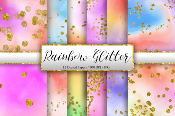 Rainbow Glitter Watercolor Background Graphic Backgrounds By PinkPearly