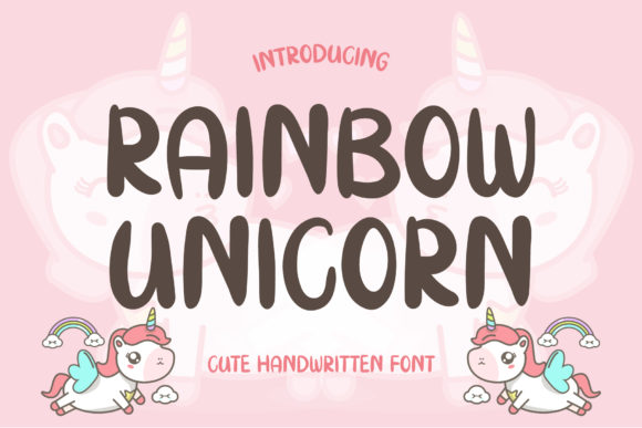 Print on Demand: Rainbow Unicorn Script & Handwritten Font By AquariiD