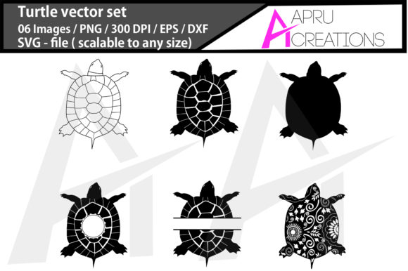 Print on Demand: Sea Turtle Vector Bundle / Turtle Graphic Icons By aparnastjp