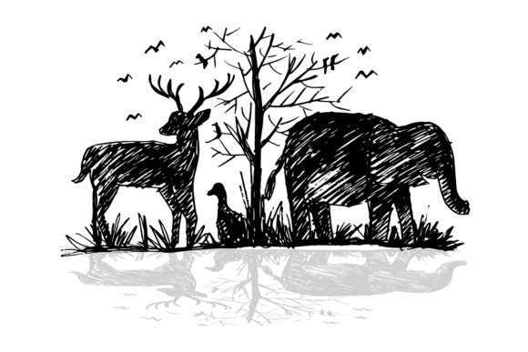 Silhouette of Animals Graphic Illustrations By han.dhini