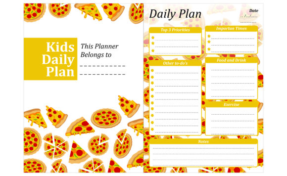 Print on Demand: Simple KDP with Pizza Illustration Theme Graphic Crafts By Arief Sapta Adjie