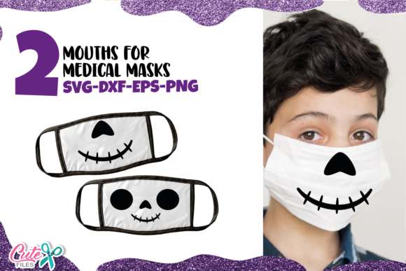 Skull Halloween Mouths for Face Mask Graphic Illustrations By Cute files