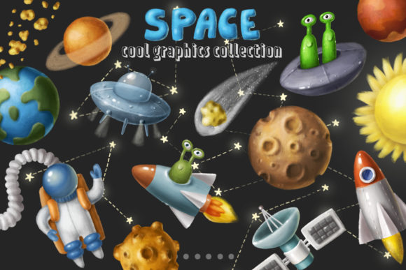 Print on Demand: Space Objects Collection Gráfico Ilustraciones Por Architekt_AT