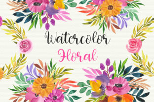 Print on Demand: Watercolor Floral Clip Art Graphic Illustrations By PinkPearly