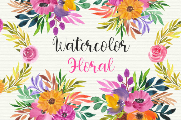 Watercolor Floral Clip Art Graphic Illustrations By PinkPearly