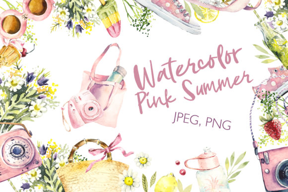 Watercolor Pink Summer Graphic Illustrations By Мария Кутузова