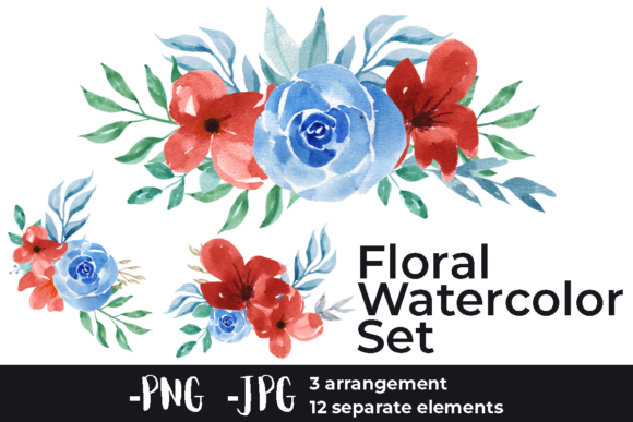 Print on Demand: Watercolor Rose Arrangements Set Graphic Crafts By AzrielMch