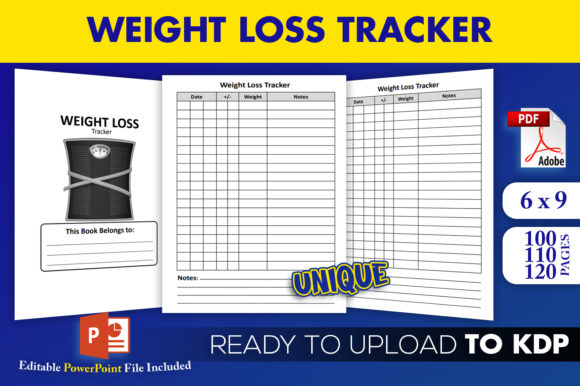 Print on Demand: Weight Loss Tracker Journal KDP Interior Graphic KDP Interiors By Beast Designer