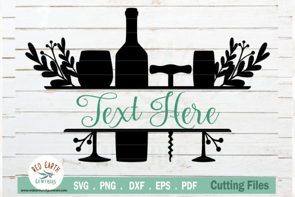 Wine Floral Split Monogram Frame Graphic Crafts By redearth and gumtrees