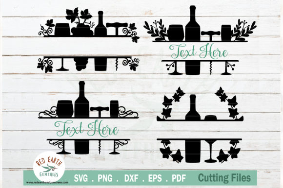 Wine Split Monogram Frames Bundle Graphic Crafts By redearth and gumtrees