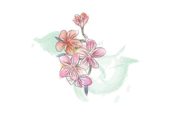 Print on Demand: Nice Flower in Watercolor Graphic Illustrations By curutdesign
