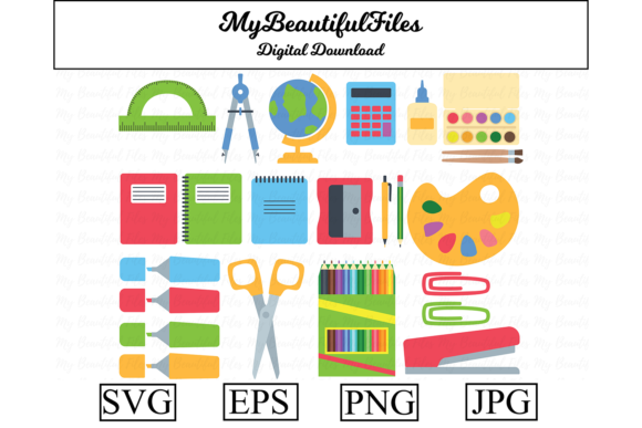 Print on Demand: School Supplies Clipart Illustration Graphic Illustrations By MyBeautifulFiles